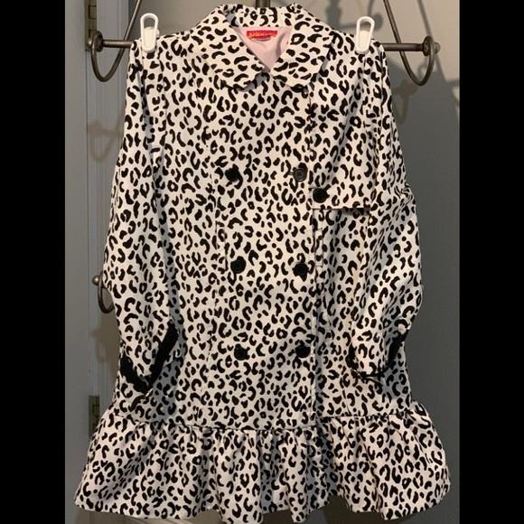 Kate Mack White Leopard Ruffle Jacket sz 7